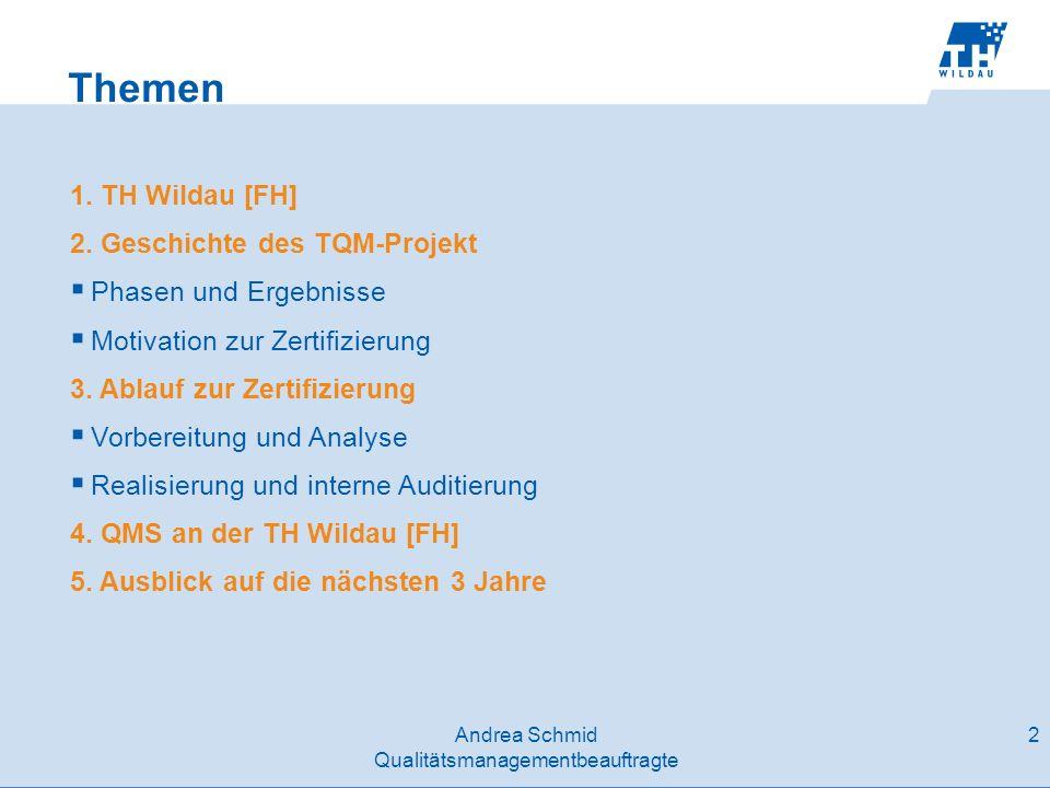 Themen 1. TH Wildau [FH] 2. Geschichte des TQM-Projekt